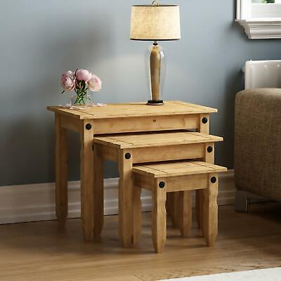 £44.90 • Buy Corona Nest Of 3 Tables Mexican Solid Waxed Pine Living Room Furniture Units
