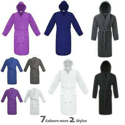 £13.95 • Buy Bath Robe 100% Egyptian Cotton Shawl Or Hooded Dressing Gown Terry Towelling