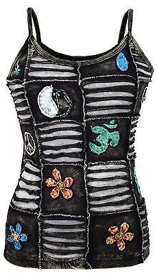 Black Hippie Boho Cotton Summer Embroidery Patchwork OM Goth Nepalese Tank Top • 17.99£