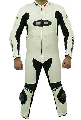 $374.99 • Buy 1pc Perrini Fusion Motorcycle Riding Racing Leather Suit W/ Padding & Hump White
