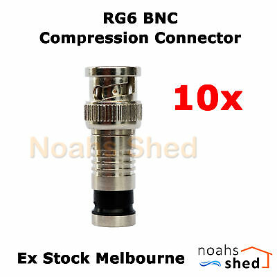 AU23.50 • Buy 10 X RG6 Tri Quad Coax Cable Male BNC Compression Connector CCTV Audio Video