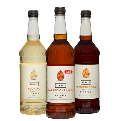 Simply Coffee, Fruit & Sugar-Free Syrups | 1 Litre Bottles | Multiple Flavours • 9.75£