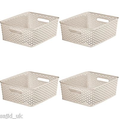 4x Curver Nestable Rattan Basket Small Storage Plastic Wicker Tray 8L - Cream • 11.45£