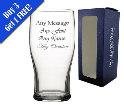 Personalised Engraved Pint Glass Fathers Day Birthday Best Man Usher Stag Party • 7.95£