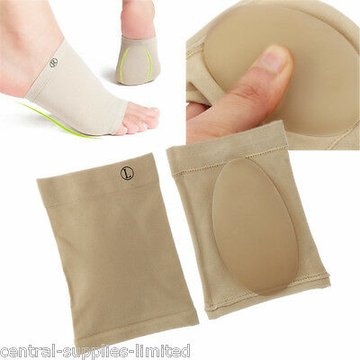 Silicone Gel Fallen Arch Support Cushion Flat Feet Foot Care Pain Relief Pads • 2.95£