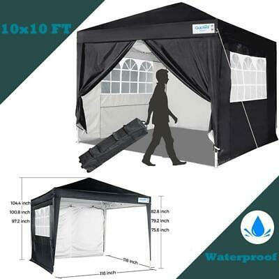 $1139.99 • Buy Quictent 10x10 EZ Pop Up Canopy Instant Party Tent Gazebo Black With 4 Sidewalls