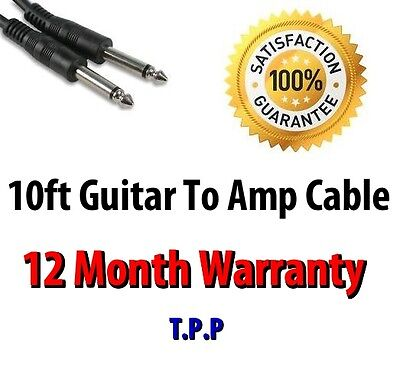 AU12.84 • Buy 10ft Guitar To Amp Cable Lead Standard Straight 1/4 Connection Ends Jack Plug
