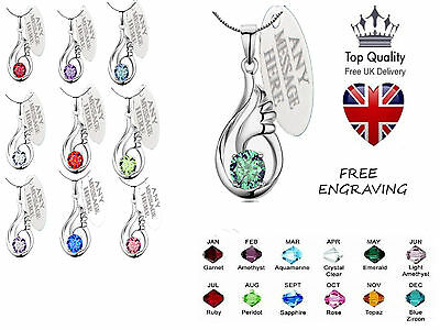 Womens Birthstone Necklace Personalised Engraved Jewellery Angel Wing Crystal UK • 10.99£