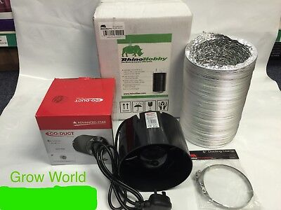 Fan & Filter Extraction Kit Rhino Hobby Carbon Filter 4 5 6   Inch Hydroponics • 80£