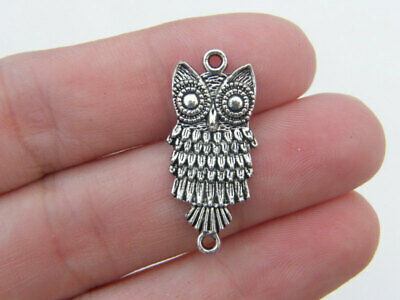 10 Owl Connector Charms Antique Silver Tone B285 • 1.95£