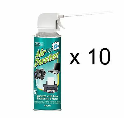 10 X 400ml Compressed Air Duster Cleaner Spray Can Canned Laptop Keyboard Mouse • 24.49£