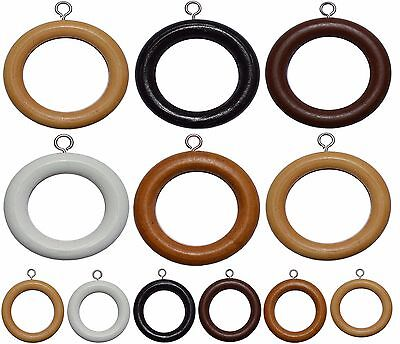 QUALITY WOOD WOODEN CURTAIN POLE SPARE RINGS HANGING HOOKS 5 COLOUR, 2 SIZES NEw • 7.99£