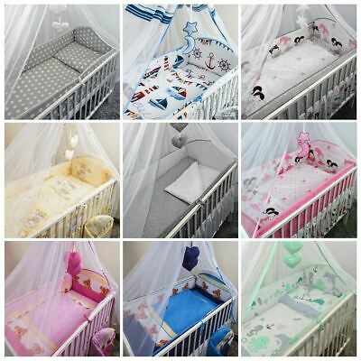 £16.99 • Buy 8 , 10 Piece Nursery Cot Bedding Set Pattern With Canopy Net Bumper Duvet Cover