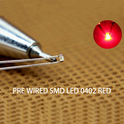 $15.99 • Buy T0402R 20pcs Pre-soldered Micro Litz Wired Leads RED SMD Led 0402 NEW