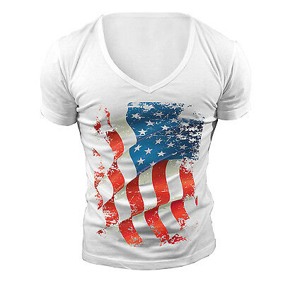 £14.99 • Buy Deep V Neck T-shirt Usa Flag Geordie Shore Towie American Muscle Top