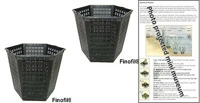 2 X 3L Hexagon Plastic Aquatic Pots Baskets For Water Plants And Pond & Guide  • 7.95£