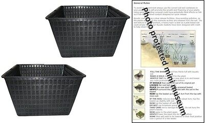 2 X 24cm Square Plastic Aquatic Pots Baskets For Water Plants And Pond & Guide  • 7.95£
