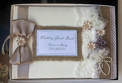 Personalised Vintage Wedding Guest Book-Nottingham, Lace, Roses, Ribbon & Jewels • 26.99£