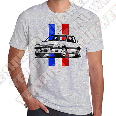 Personalisable Plate Pug 205 Gti 1.9 1.6 Mens French Flag ASH GREY T-shirt  • 11.99£