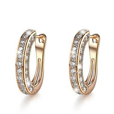 AU15.99 • Buy 18k Yellow Gold Gf Huggies Simulated Diamond Earrings Fashion