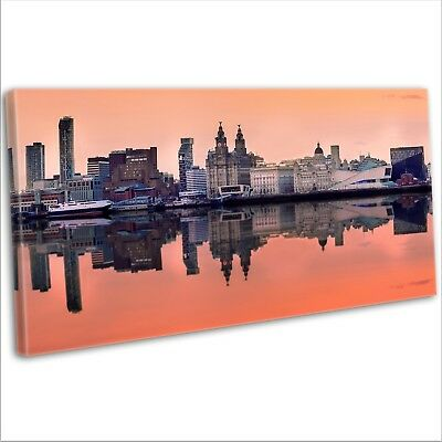 £29.99 • Buy Canvas Print Liverpool Skyline Over The Mersey Panoramic Framed Wall Art Picture