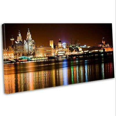 £29.99 • Buy Canvas Print Liverpool Skyline Over The Mersey Panoramic Framed Art Picture