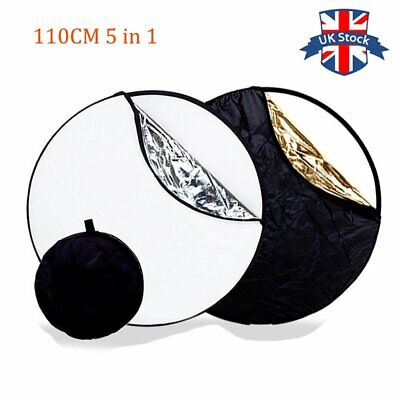 UK 110cm 5 In1 Studio Ligh Diffuser Light Mulit Collapsible Disc Reflector • 11.99£