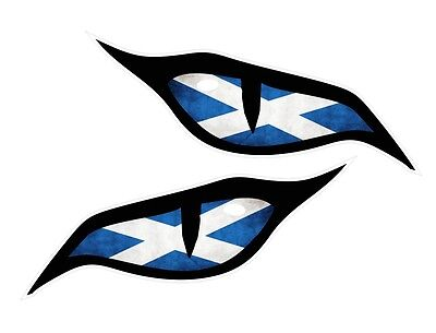 Pair Of Evil Eyes Scotland Scottish Flag Car Motorbike Helmet Sticker 70x30mm Ea • 2.49£