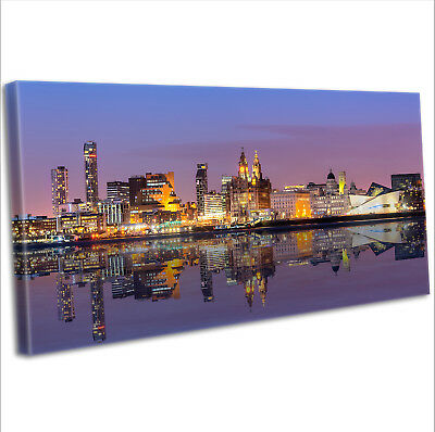 £29.99 • Buy Liverpool Over The Mersey Skyline Canvas Print Panoramic Framed Wall Art Picture