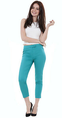 £12.99 • Buy Ladies Ankle Grazers Crops Womens Slim Cropped Trousers Cotton Stretch Pants