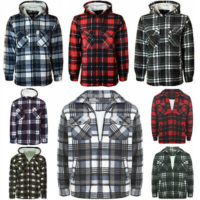 £9.94 • Buy Mens Padded Shirt Fur Lined Lumberjack Flannel Work Jacket Warm Thick Casual Top