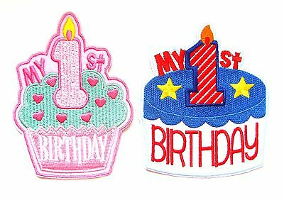 My 1st Birthday Iron On Patch- Girls Boys Baby First Gift Embroidered Badge • 1.95£