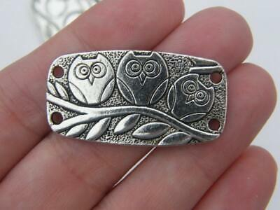 4 Owl Connector Charms Antique Silver Tone B284 • 1.95£