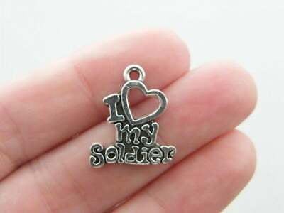 6 I Love My Soldier Charms Antique Silver Tone G36 • 1.85£