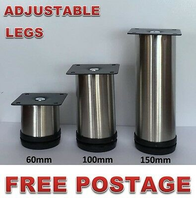 AU18 • Buy 4x Adjustable Furniture Legs Stainless Steel 60-200mm Kitchen Cabinet Couch Sofa