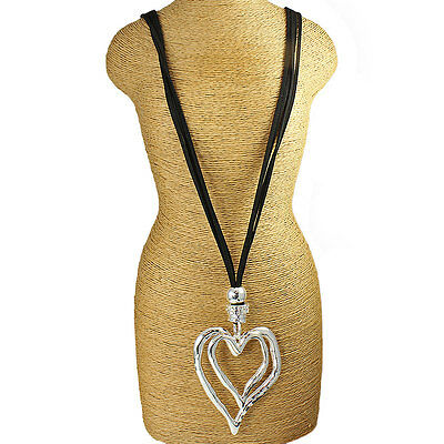 £12.99 • Buy Large Chunky Silver Double Heart Pendant CZ Black Leather Suede Long Necklace