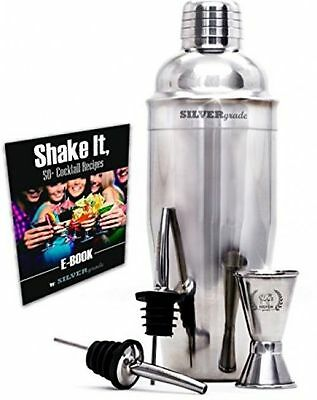 Cocktail Shaker By SILVERgrade - Professional Martini Bartender Kit New W/o Box • 19.95$