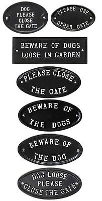 £14.99 • Buy  Cast Antique Style Signs Please Close Gate / Beware Of Dog Garden Gate Signs