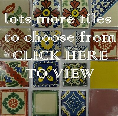 Hand-Made Ceramic Mexican Wall Tile Hand Painted Mexico Terracotta Tiles VARIOUS • 1.25£