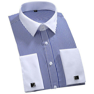 New Striped French Cuff Designer Italian Men's Formal Button Casual Shirts GT340 • 12.12£