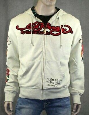 ED Hardy Men's Reversible Hoodie DO OR DIE Beige Black • 138.95£