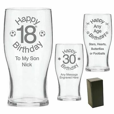 Engraved Pint Beer Glass 16th 18th 21st 30th Birthday Gift - Personalised - GB • 10.99£