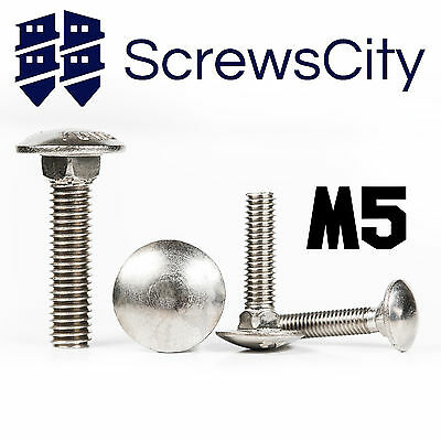 Size M5 (5mm Ø) STAINLESS STEEL CARRIAGE BOLTS / CUP SQUARE COACH SCREWS DIN 603 • 1.52£