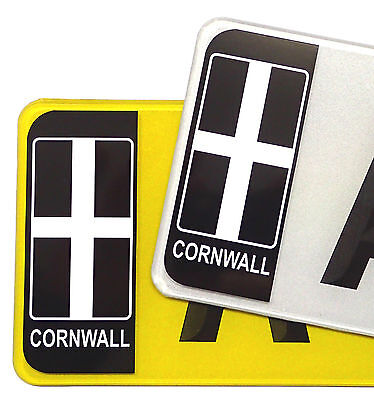 £1.69 • Buy Pair Of CORNWALL Cornish Flag Number Plate Badge Vinyl Stickers Decal For Car