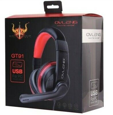 AU19 • Buy OVLENG GT91 USB Stereo PC Gaming Headset Headphones Skype Online Chat Mic NEW