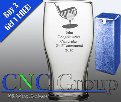 £7.95 • Buy Personalised Engraved Tulip Pint Glass Golf Award Trophy Sport Tournament Gift