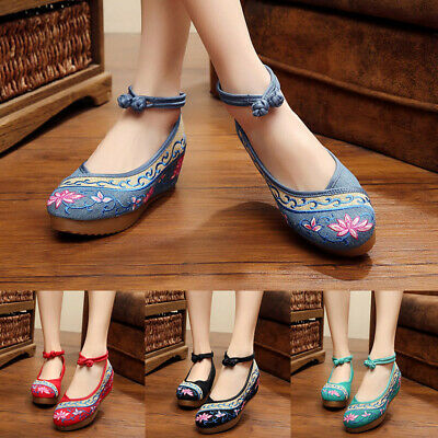 £12.99 • Buy Women Chinese Style Retro Embroidered Floral Toe Wedge Platform Ballerinas Shoes