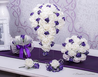 £17.99 • Buy Wedding Flowers Created In Cadbury's Purple & Ivory Roses, Free Delivery