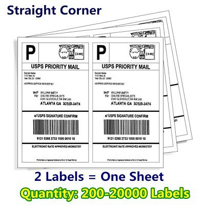 $11.92 • Buy 200-20000 8.5x5.5 Shipping Mailing Labels Half Sheet Self Adhesive For UPS FedEX