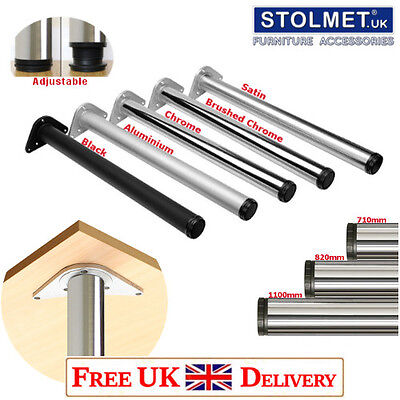 4x Chrome LEGS 710mm Adjustable Breakfast Bar/Worktop/Table/Kitchen Round ø60mm • 19.99£